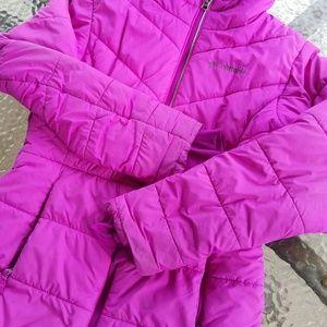 Girls Columbia bright pink/purple coat